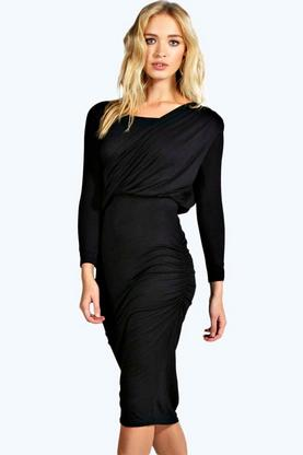 Sana Drape Shoulder Midi Dress