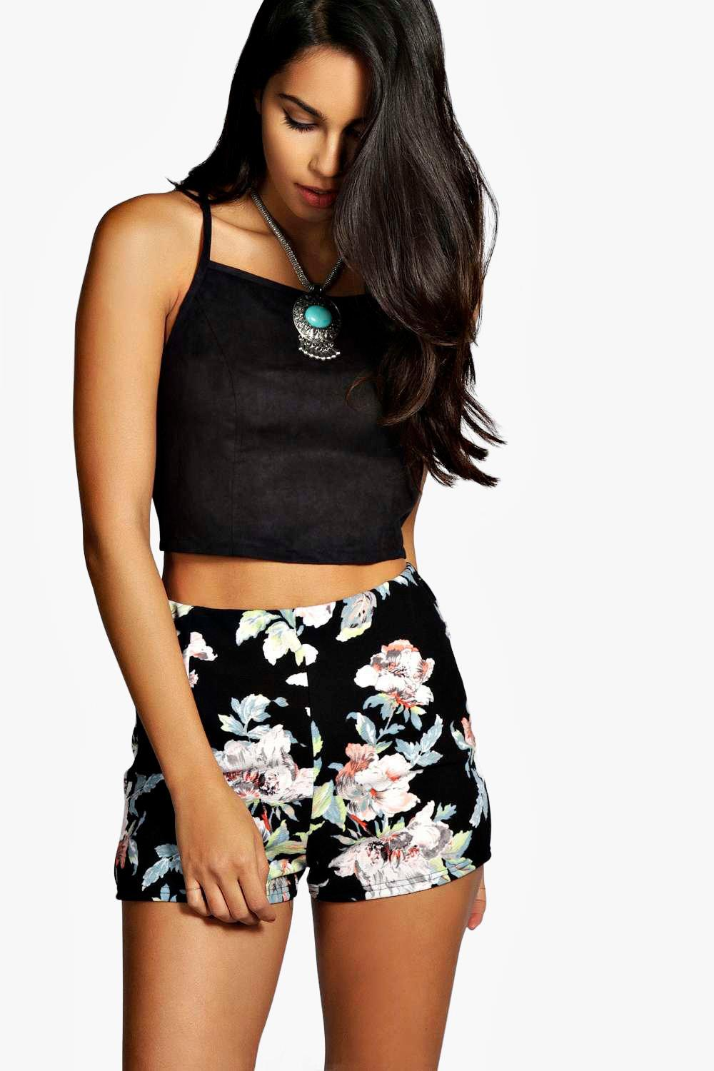 Lily Floral High Waisted Shorts | Boohoo