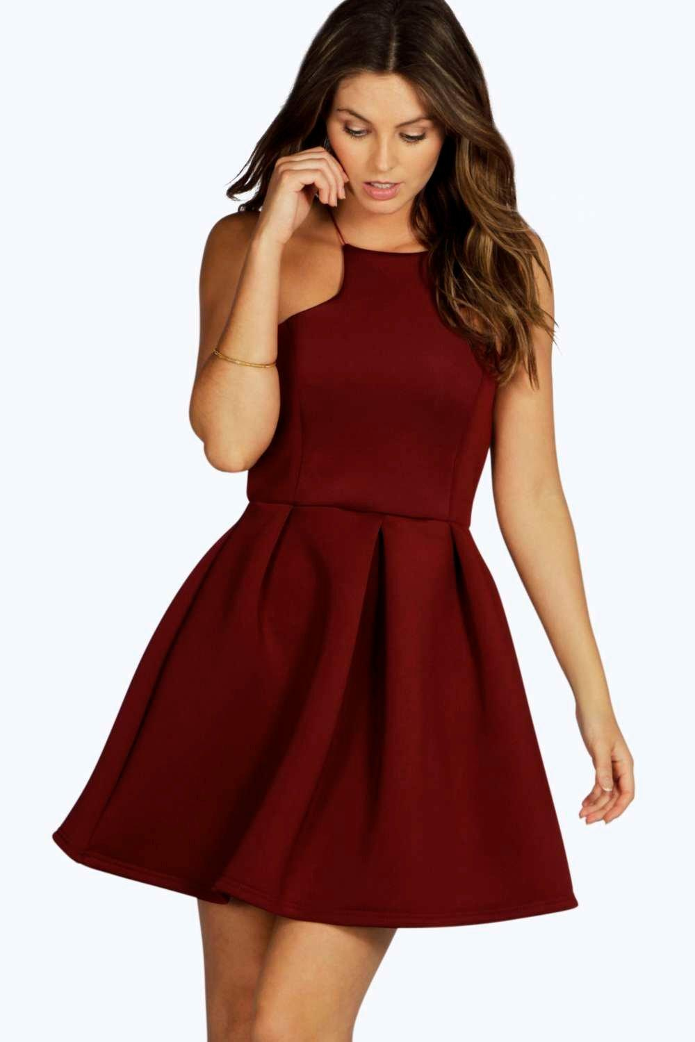 Bonded Scuba Cutaway Skater Dress  berry