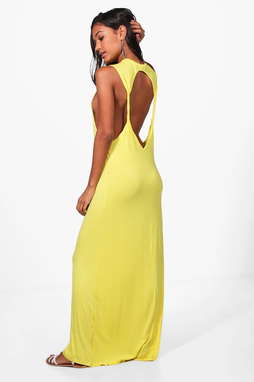 Twist Back Detail Maxi Dress  yellow