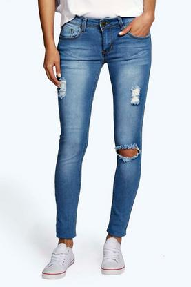 Hannah Low Rise Distressed Knee Rip Skinny Jeans