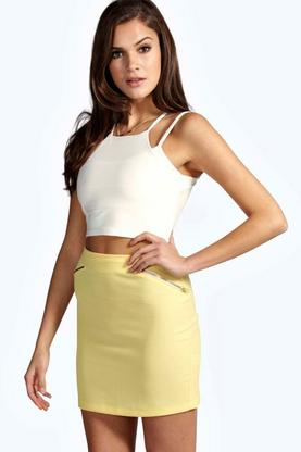 Allie Angled Zip Woven Mini Skirt