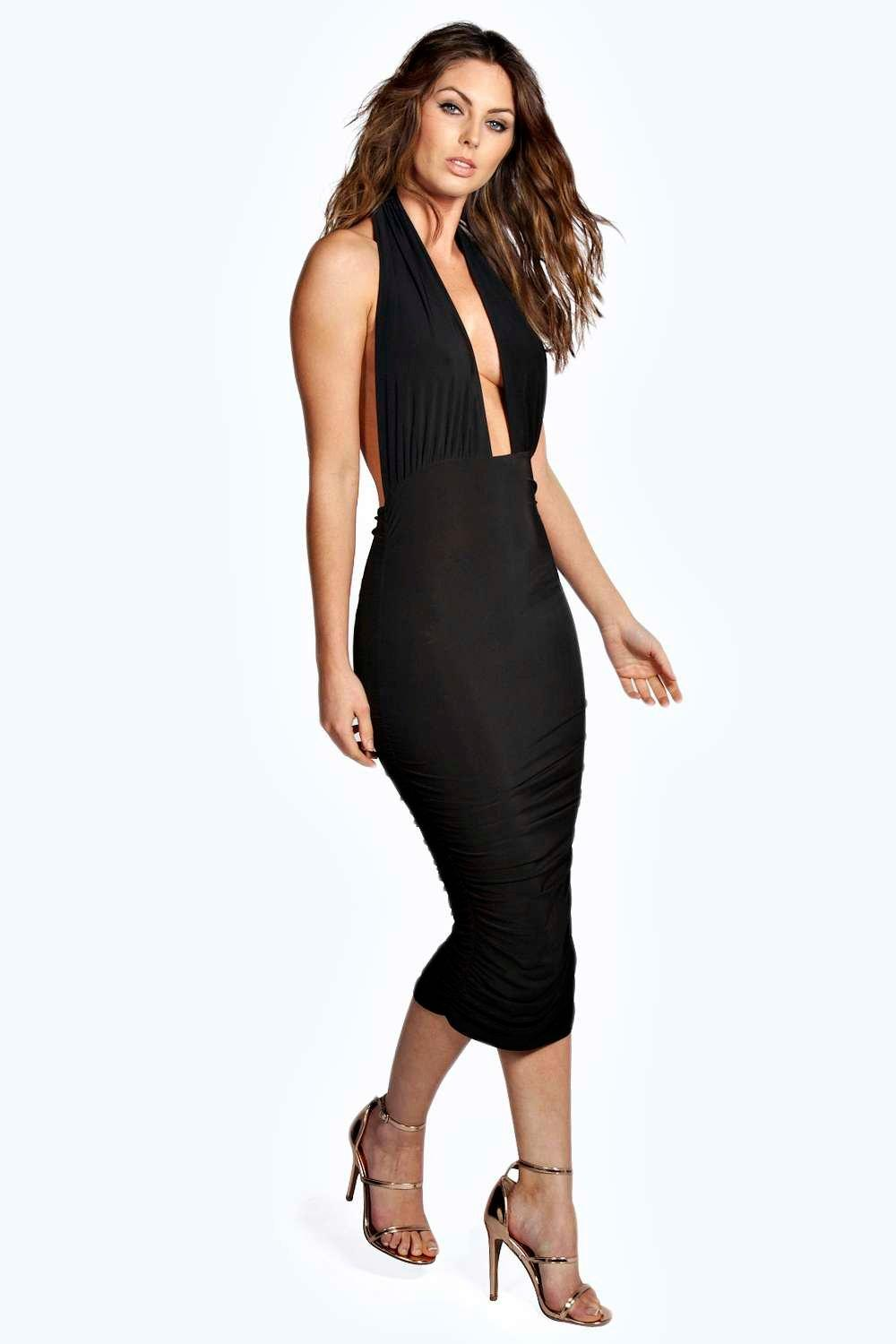 Flora Ruched Side Plunge Halter Slinky Dress