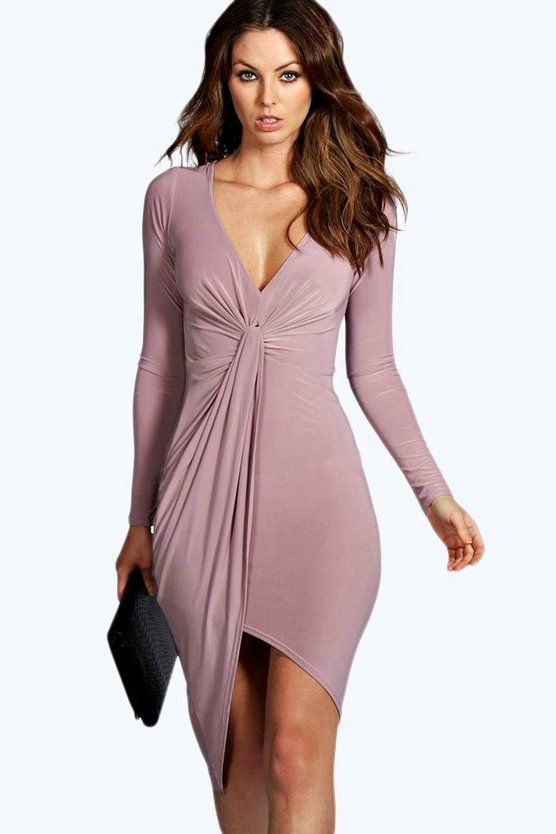 Flora Knot Front Slinky Dress