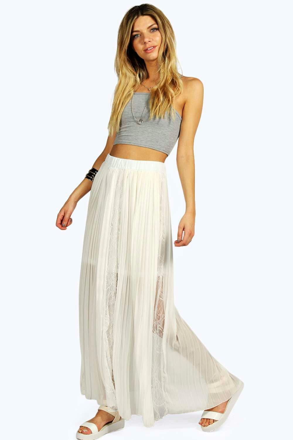 boohoo womens leyla boutique lace insert pleated maxi skirt