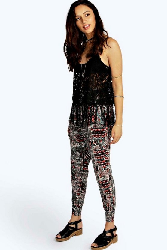 Stephanie Aztec Print Relaxed Joggers