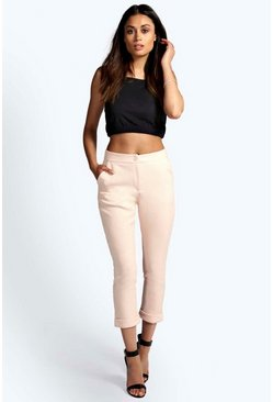 Ellie Textured Button Front Cropped Trousers