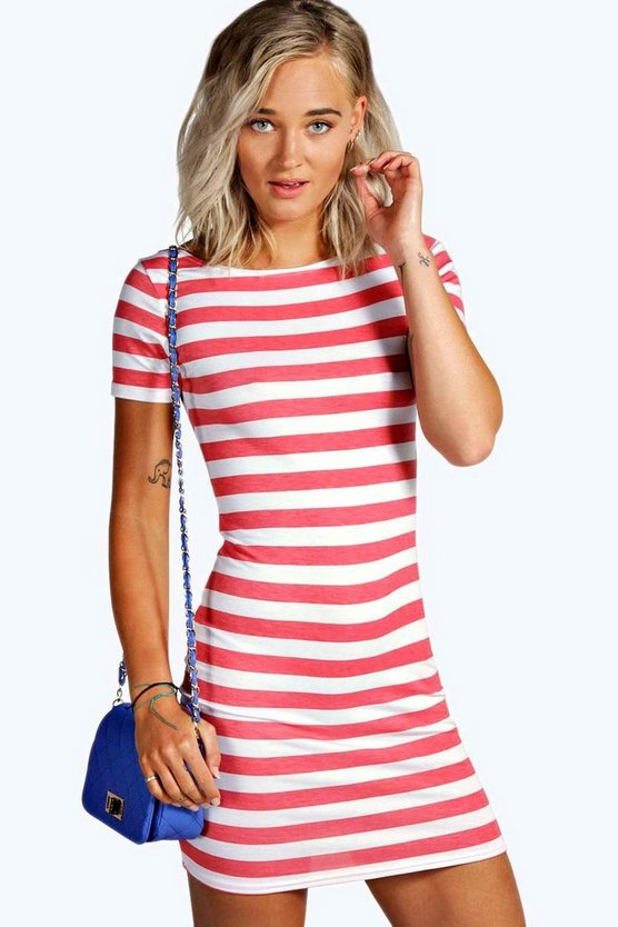 Manny Striped Cap Sleeve Bodycon Dress