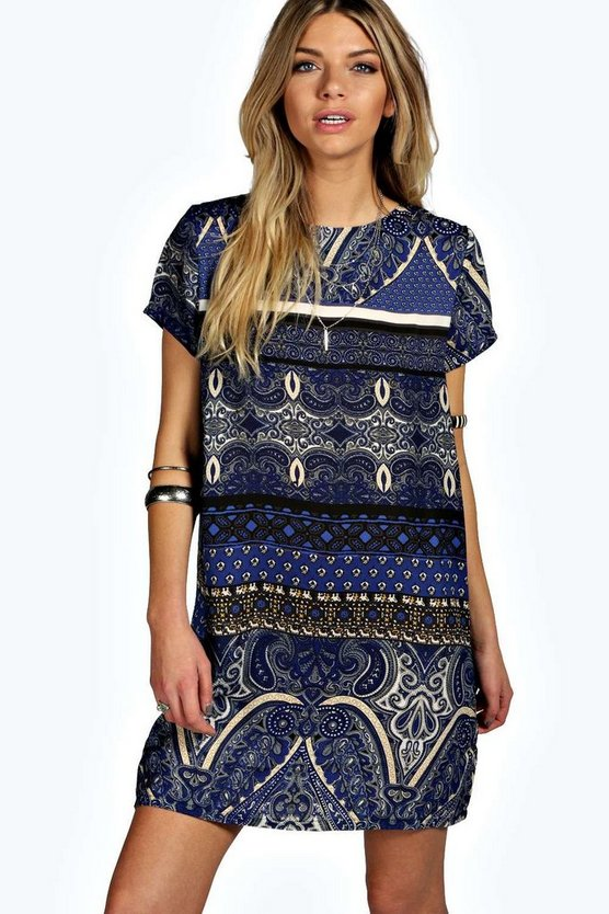 Nina Woven Paisley Shift Dress