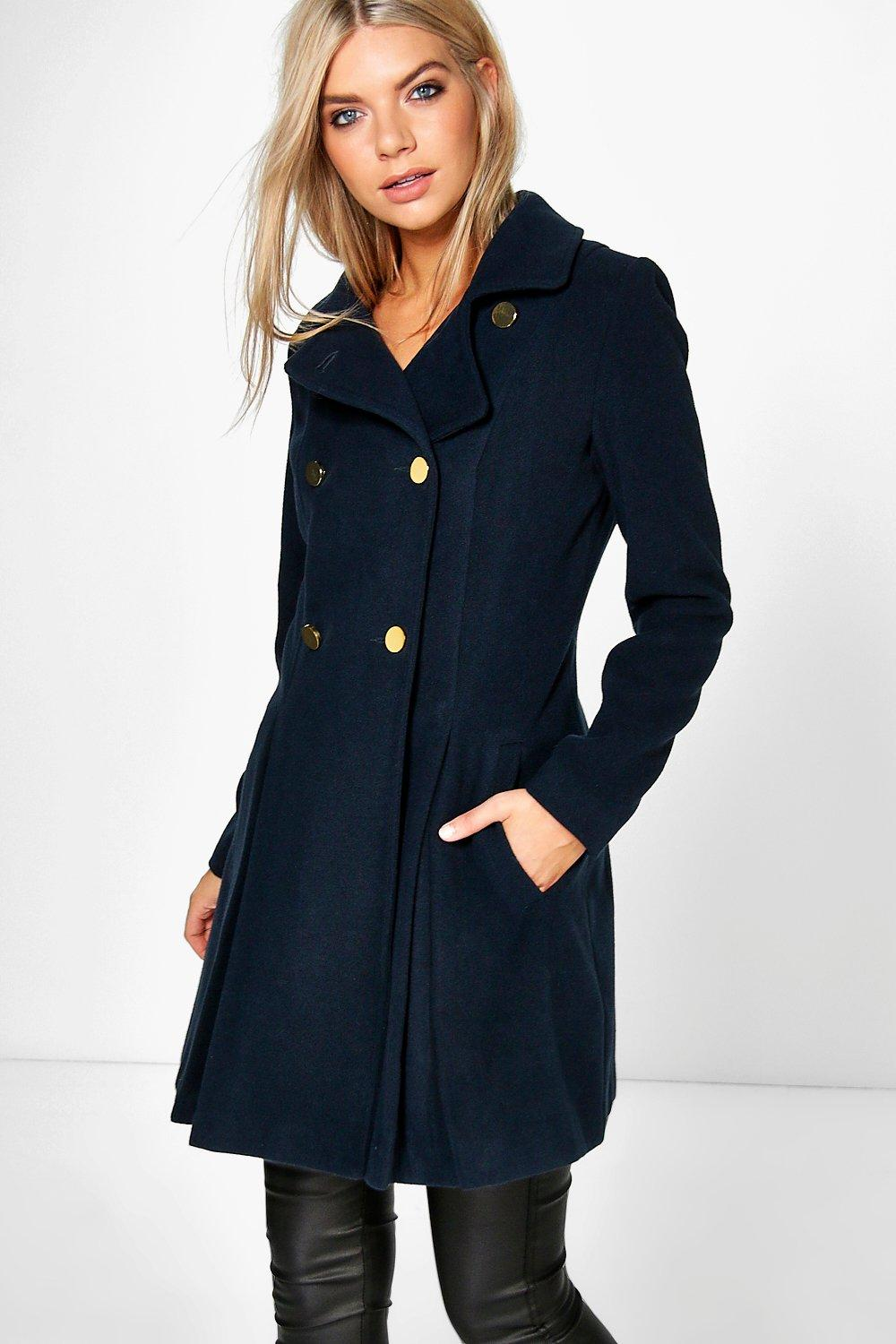Sara Military Fit And Flare Coat