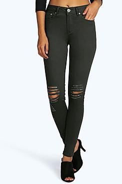 Loren Mid Rise Distressed Knee Skinny Jeans