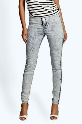 Lara High Waist Acid Wash Tube Jeans