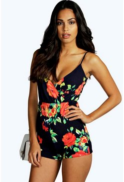 Rhian Floral Print Strappy Wrap Playsuit