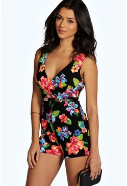 Leah Bright Neon Floral Belted Playsuit