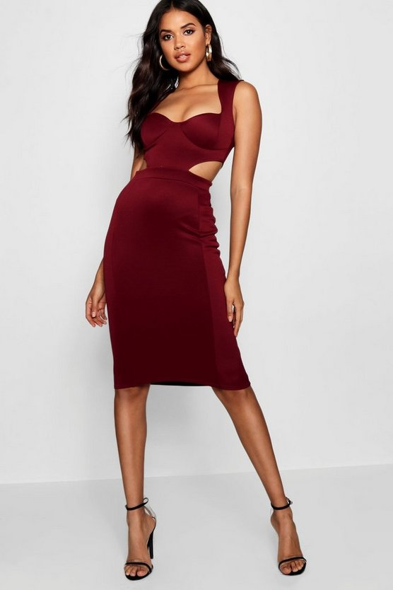 Sweetheart Cut Out Side Bodycon Dress