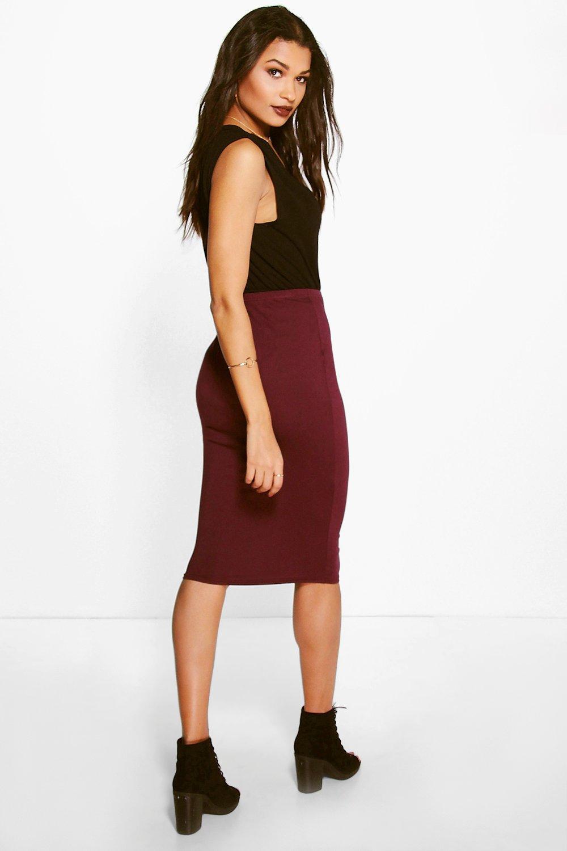 boohoo womens gemma basic jersey midi skirt ebay