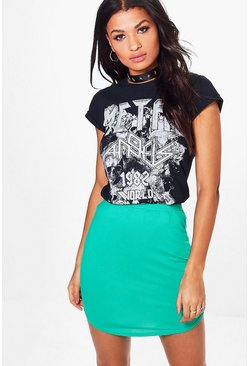 Heather Block Colour Curve Hem Mini Skirt