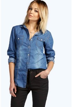 Isabelle Dark Wash Denim Shirt