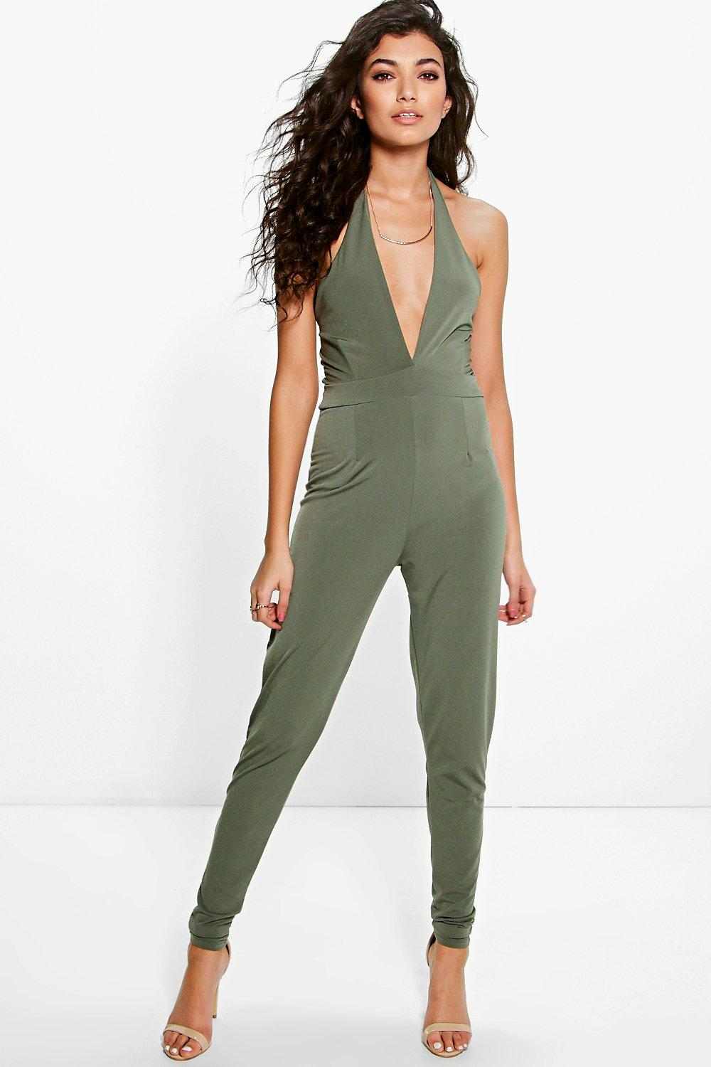 Excellent Maira Khaki Suede Wrap Jumpsuit  Jumpsuits Amp Playsuits