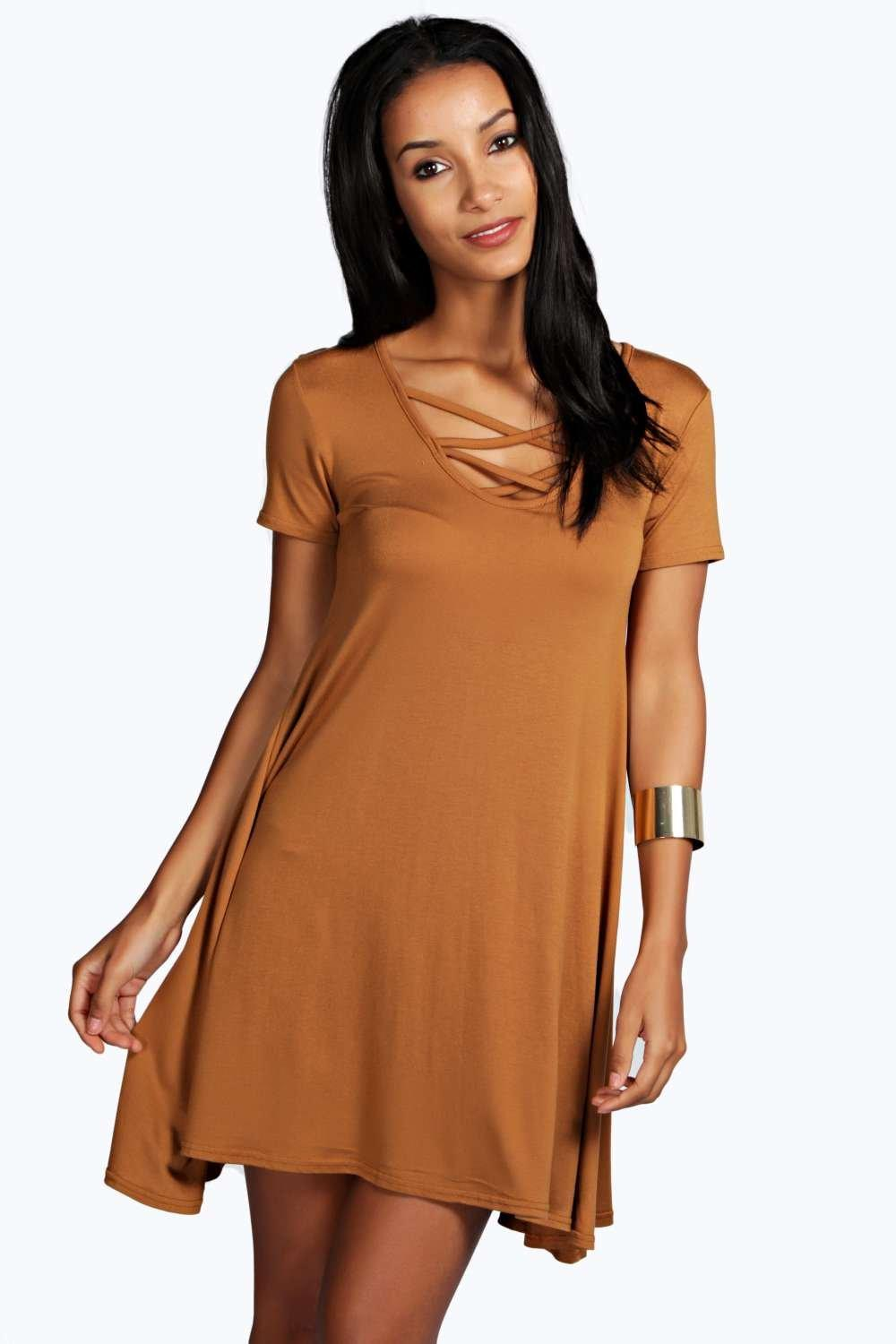 Melinda Laced Front Skater Dress
