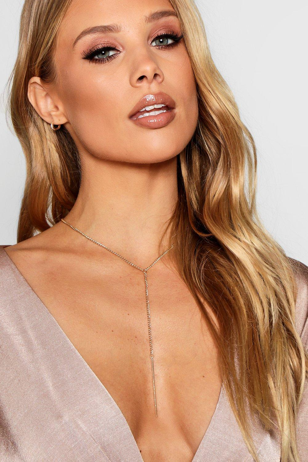 Amber Skinny Chain Plunge Necklace