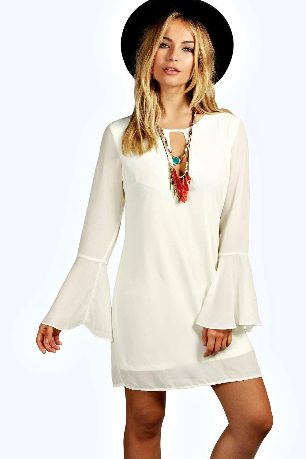 Jolie 70's Bell Sleeve Woven Shift Dress