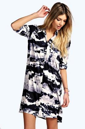 Charlotte Smudge Print Woven Shirt Dress