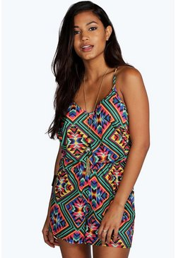 Cara Aztec Print String Back Playsuit