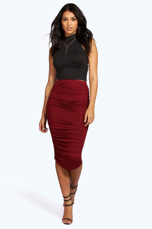 Ruched Sides Jersey Midi Skirt chestnut