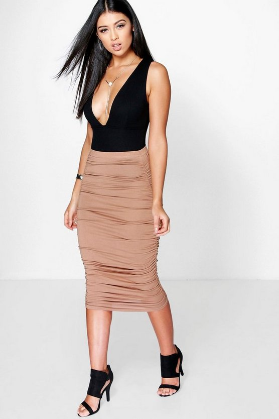 Steph Ruched Sides Jersey Midi Skirt