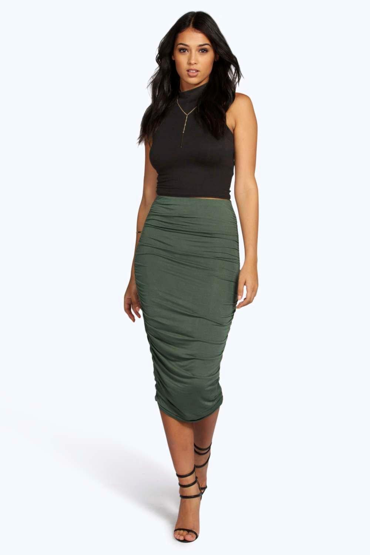 Ruched Sides Jersey Midi Skirt  khaki