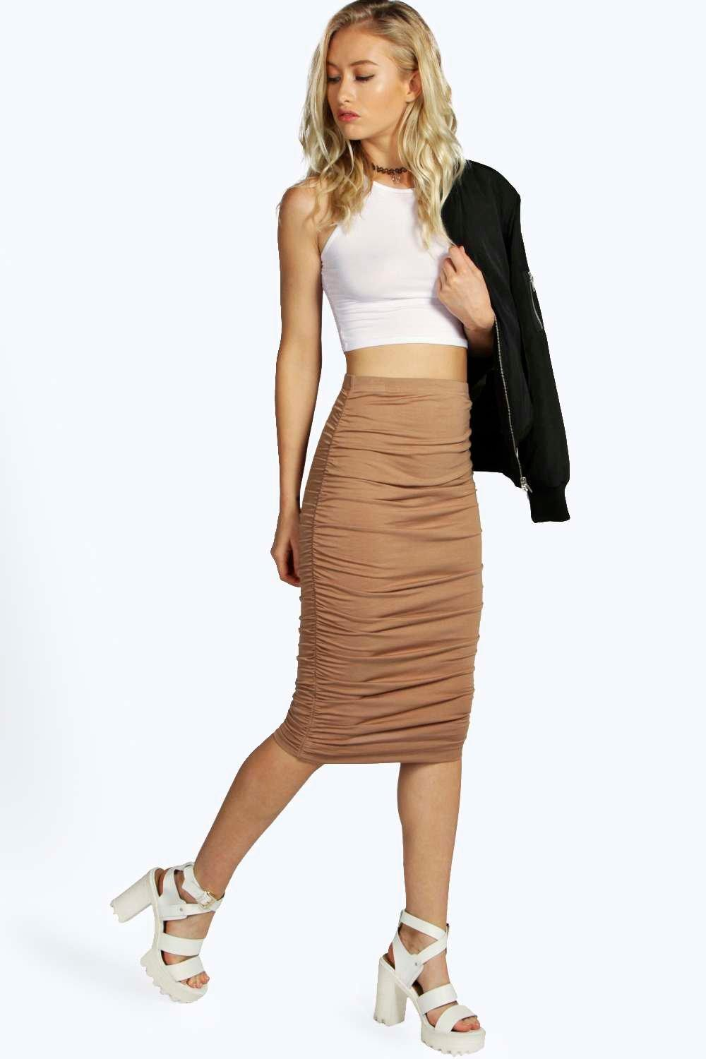 Monica Ruched Sides Midi Skirt