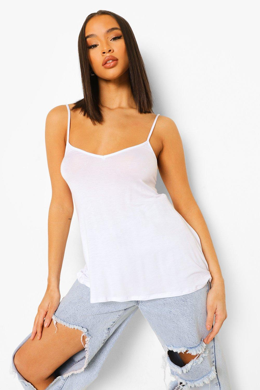 Womens Ausgestelltes Trägerhemd - Weiß - 34, Weiß - Boohoo.com