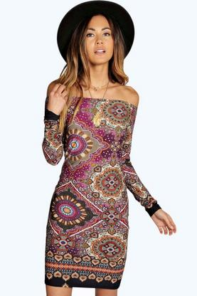 Sally Geo Paisley 70's Off Shoulder Dress
