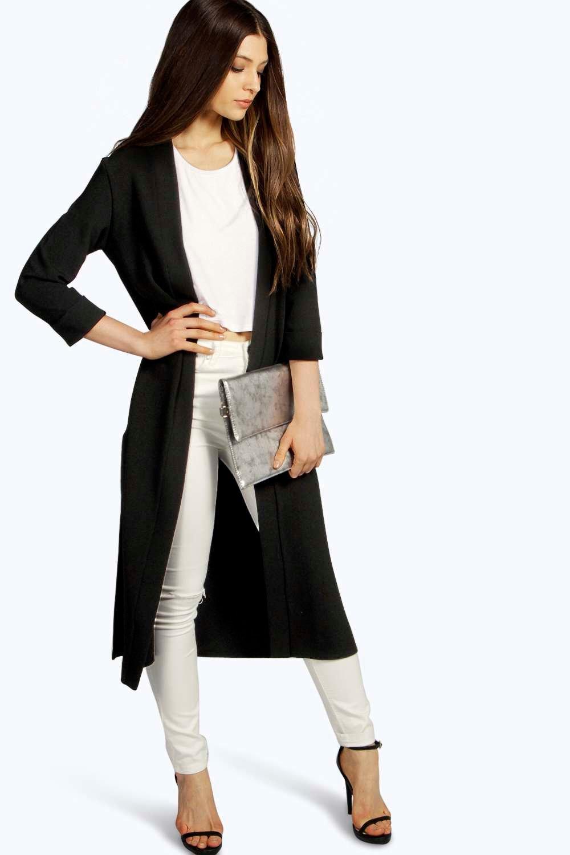 Turn Up Cuff Duster Coat black