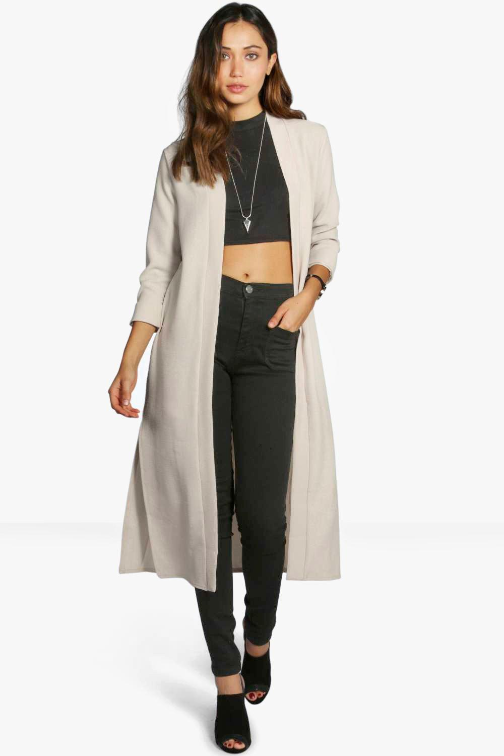 Turn Up Cuff Duster Coat stone