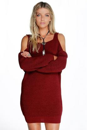 Maisie Tab Top Cold Shoulder Jumper Dress