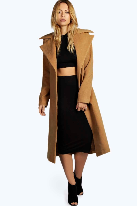 Jeeny Camel Wool Look Coat   Boohoo