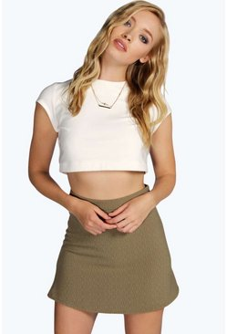 Drew Textured Zip A Line Mini Skirt