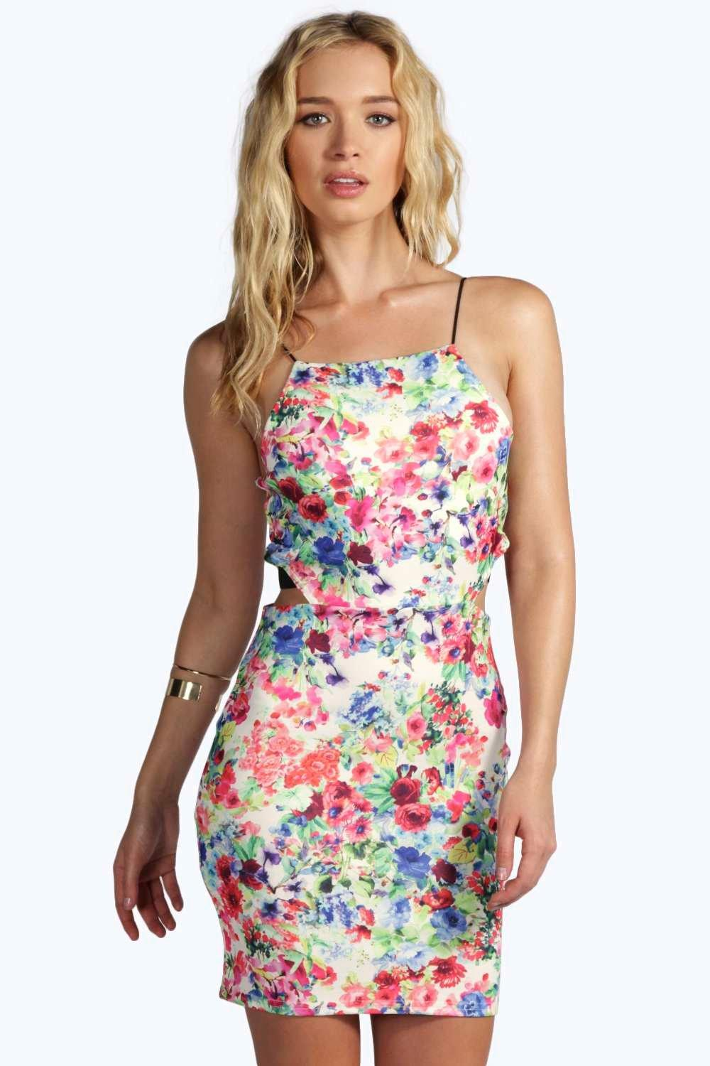 Matilda Floral Cut Out Strappy Bodycon Dress