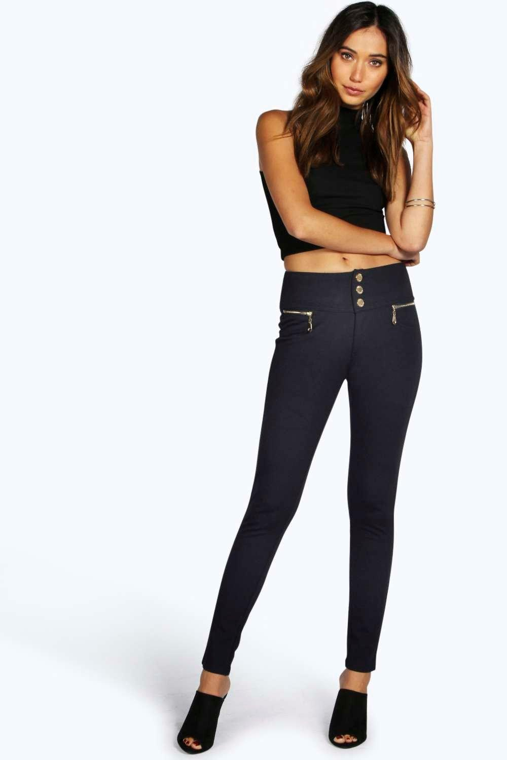 Gold Trim 3 Button Super Skinny Trousers navy