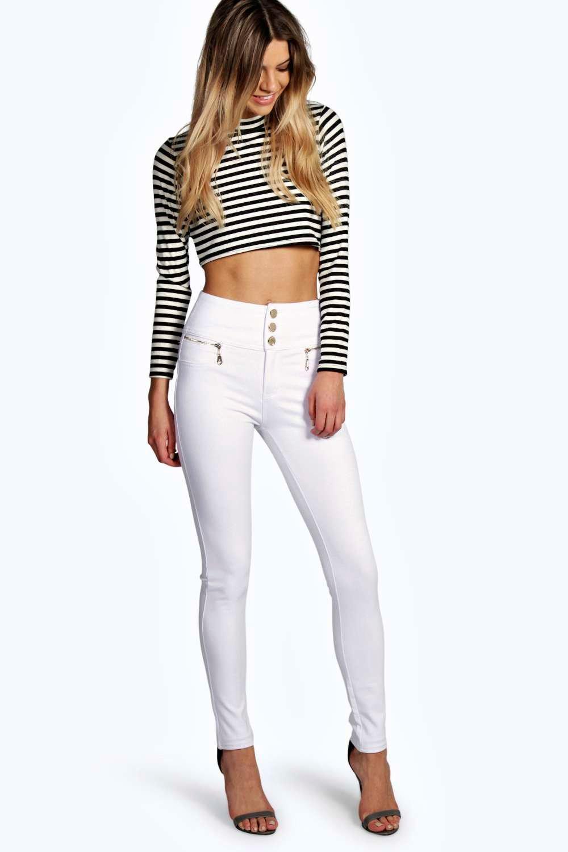 Gold Trim 3 Button Super Skinny Trousers white