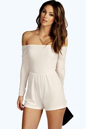Mary Off The Shoulder Slinky Playsuit