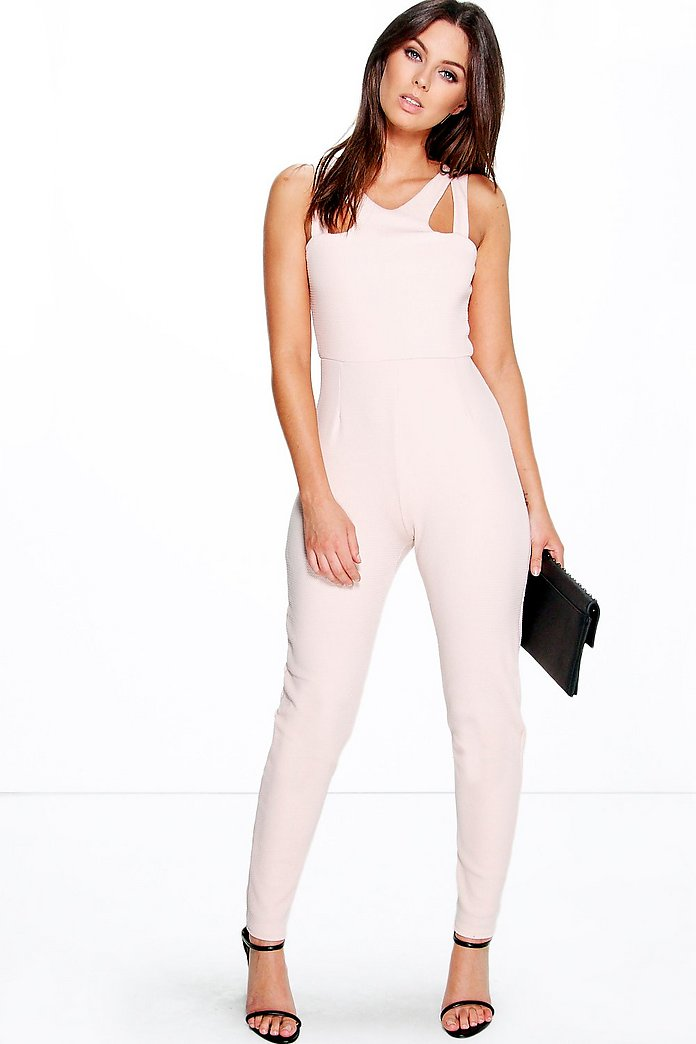 Jennie Cut Out Strappy Textured Jumpsuit