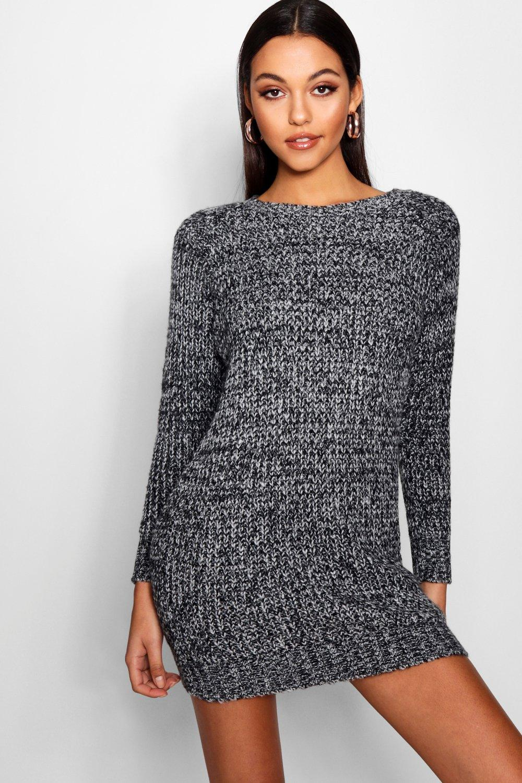 Soft Marl Knit Jumper Dress  black