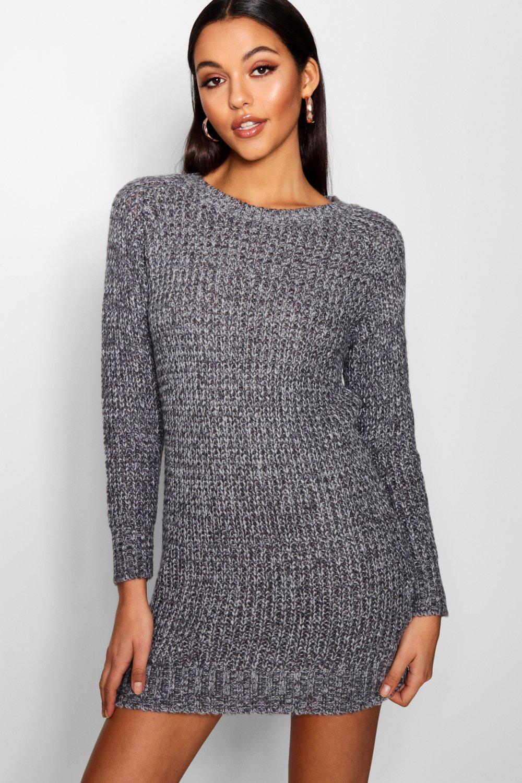 Soft Marl Knit Jumper Dress  grey