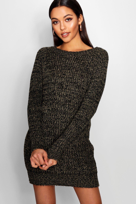 Soft Marl Knit Jumper Dress  khaki