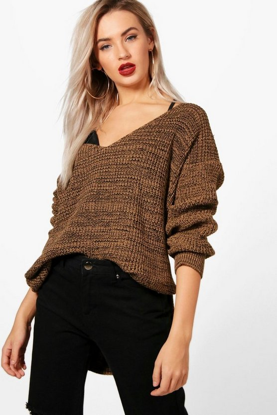 Side Split Step Hem Marl V Neck Jumper