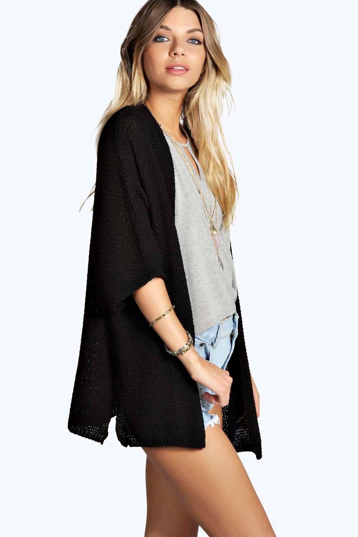 Side Split Loose Knit Batwing Cardigan  black