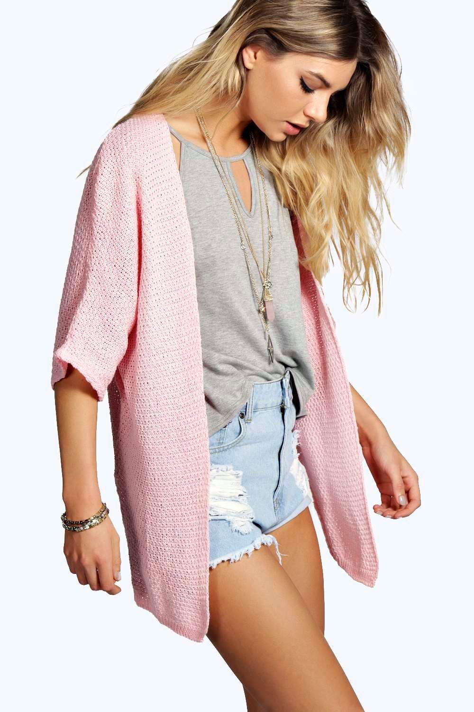 Side Split Loose Knit Batwing Cardigan  blush